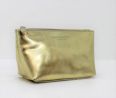 Givenchy Parfums Small Trapezium Gold Pouch /cosmetic/ Make-Up Bag With Gold Zip