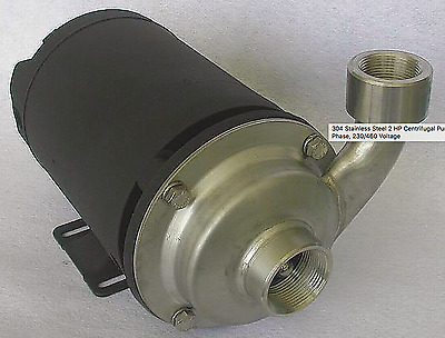 New! Dayton 2 Hp Centrifugal Pump, 304 Stainless Steel, 3-Phase, 230/460V