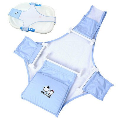 Newborn Infant Baby Bath Adjustable Support For Bathtub Seat Sling Mesh Net Blue