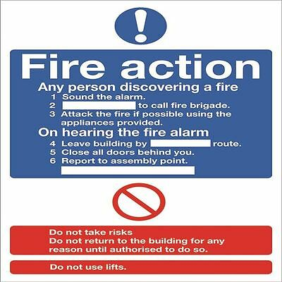 Safety Sign Fire Action Words A4 PVC FR03550R [SR92016]