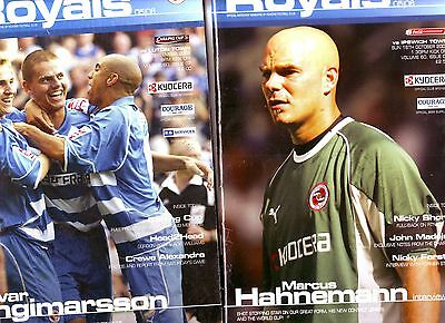 Reading V Luton & Ipswich 2005 2 Exc Progs Glossy Pages Vgc