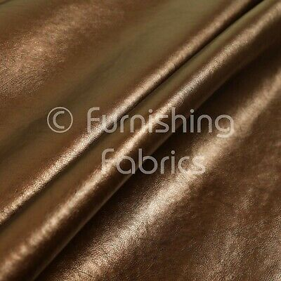 Soft Faux Leather In Plain Shiny Metallic Copper Brown Colour Upholstery Fabric