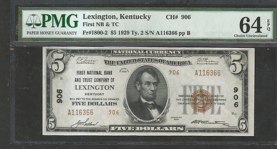 1929 $ 5  First National Bank of Lexington,Kentucky