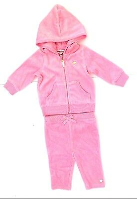 Baby Girls JUICY COUTURE Pink Velour 2pc Outfit Hooded Sweatsuit Sizes 3-24 M