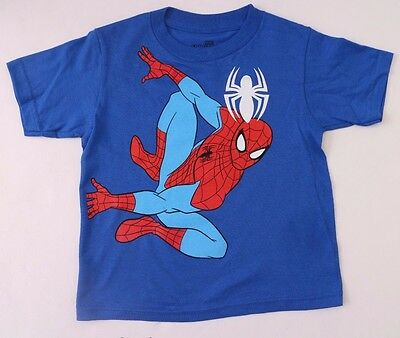 Original Marvel Comics Ultimate Spider-Man Kids Boys Blue T-Shirt Sizes 3T,4T