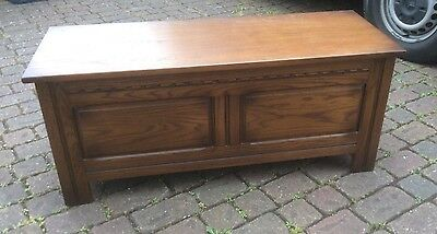 Old Charm Oak Blanket Box, Storage Chest, Coffer, Coffee Table, Excellent