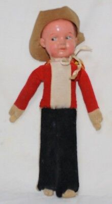 Very Old Doll - Soldier, Cowboy, Clown (?) Celluloid Head and Fiber Stuffed body