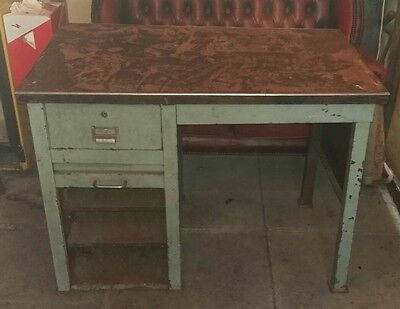 Industrial Metal Pedestal Desk - Vintage Retro Workshop Restoration Project