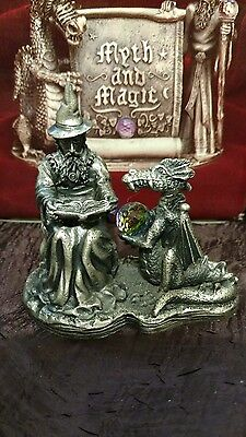 Myth and Magic by The Tudor Mint Runelore Dragon Wizard Pewter Figurine #3068