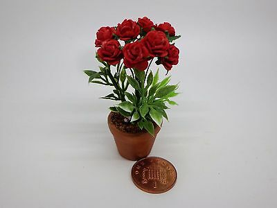 1:12 Red Paper Roses In A Terracotta Pot Dolls House Miniature Flowers ,Garden