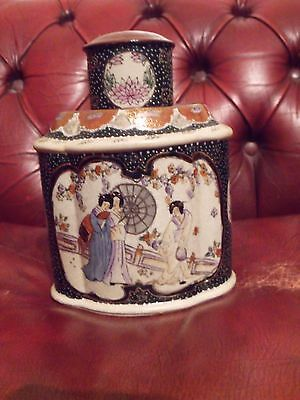 Japanese (Satsuma) pottery Tea Caddy  2 lids 1 body  REPRODUCTION MADE c1980