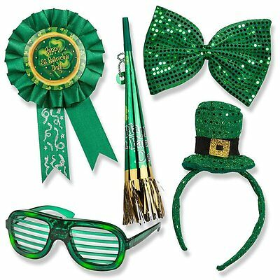 St. Patricks Day Set; St. Patricks Day Light up Glasses, Giant Bow Tie, Award Ri