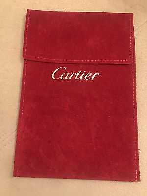 100% Authentic Red Suede Cartier Jewellery Pouch - Size Is 12 X 18cm