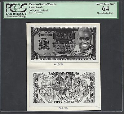 Zambia Face & Back 50 Ngwee Undated Photographic Proof Uncirculated