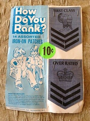 """Vintage Folz Vending Display Card Iron On Shoulder Rank Patches """"First Class"""""""