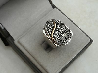 Beautiful Chunky Marked Sterling Silver, 18ct Gold & C Z Ring Sz L 1/2 10.23gr