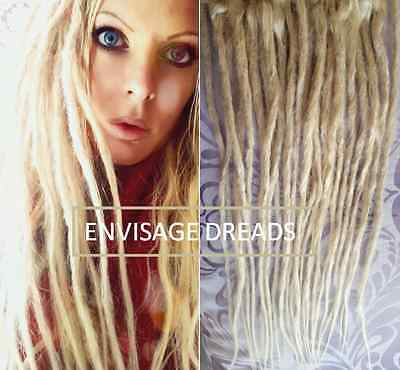 "High quality: 1 x 20"" Real Human Hair Dreadlocks dreads Blonde Natural Loose End"