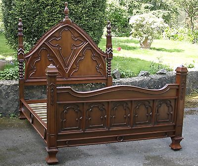 "Mahogany 4' 6"" Double Size Carved Gothic Empire Bed with High Finials New"