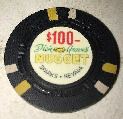 Dick Grave's Nugget $100 Casino Chip Sparks Nevada 6.99 Shipping