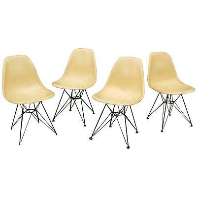 Set of Four Eames for Herman Miller Fiberglass Side Chairs Eiffel Tower Bases