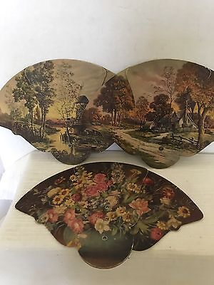 Vintage 3 Different  Fold Out Advertising Fans