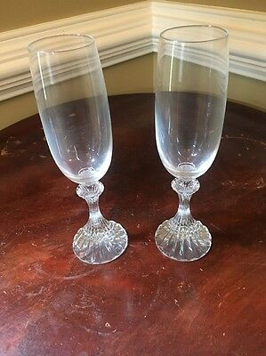 Mikasa Ritz Pattern Crystal Champagne Flutes Set Of 2