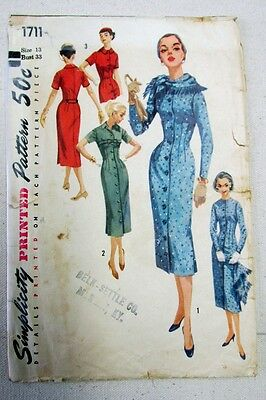 Vintage 1950's Simplicity One Piece Dress and Skirt Pattern #1711 Size 13