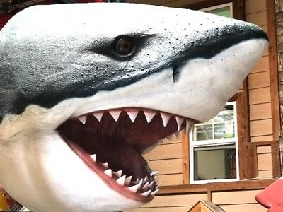 Shark Head Great White Fish Wall Mount Resin Statue - Free Ship