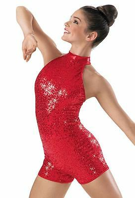 Dance Costume NEW XL Adult Red Sequin Halter Unitard Jazz Solo Competition