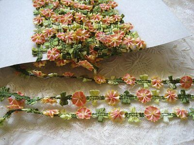 Vintage Style Peach / Yell & Green Ombre French Rococo Flower & Leaf Trim  1 Yd.