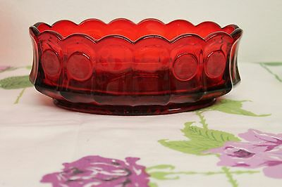 Vintage Gorgeous Deep Red Fostoria Coin Dot Bowl Dish Serving Candy Oval