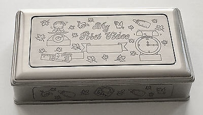 Engravable Baby Keepsake Box Perfect For the First Video, Pewter Finish, New