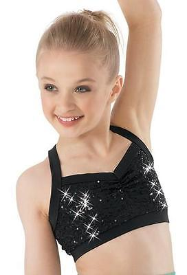 Dance Costume Medium Child Or Adult Sizes Sequin Bra Top Black Solo Competition
