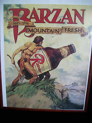 VINTAGE RAINER BREWERY POSTER * TARZAN 'BARZAN and the MOUNTAIN FRESH'