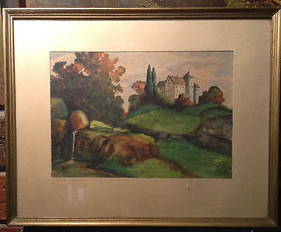 BRT Beautiful Framed Antique German Watercolour Painting Countryside L.N. 1942