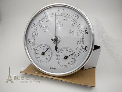 Aneroid 128mm 3 in 1  barometer With Thermometer and Hydrometer silver SALE