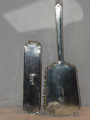 Set Of 2 Vintage Fully Uk Hallmarked Sterling Silver Hair Brushes Lovely Conditi