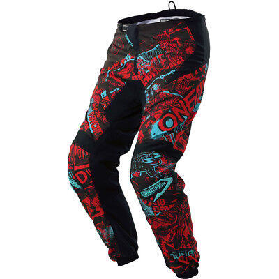 NEW Oneal 2018 Youth MX Gear Element Attack Black Red Teal Kids Motocross Pants