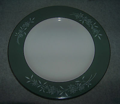 Syracuse China Candlelight White Flowers n Green Sage Dinner Plate Platinum Trim
