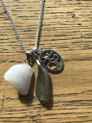Labradorite moonstone with Rose Quartz Crystal with OM Psychic necklace