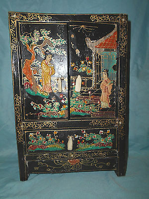 "Antique Chinese Intricately Decorated 3 Drawer 2 Door Trinket Cabinet 11"" Tall"