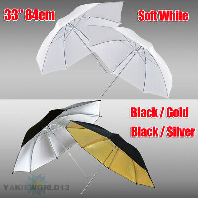 "2 x 33"" Photography Studio Lighting Reflective Umbrella White Black Gold Silver"