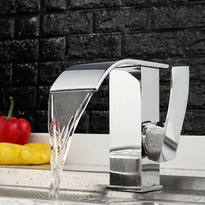 Modern Chrome Waterfall Bathroom Sink Faucet Single Handle Hole Basin Mixer Tap