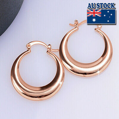 Fashion 18K Rose Gold Filled Big Round Hoop Earrings