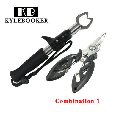 Stainless Steel Fishing Lip Gripper Grip+Fishing Pliers Set Combination Tool
