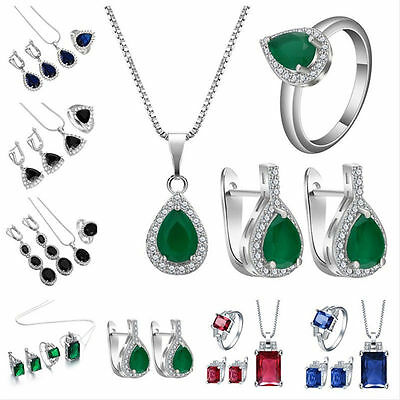 Precious Sapphire Emerald 925 Silver Necklace Pendant+Earring+Ring Jewelry Set