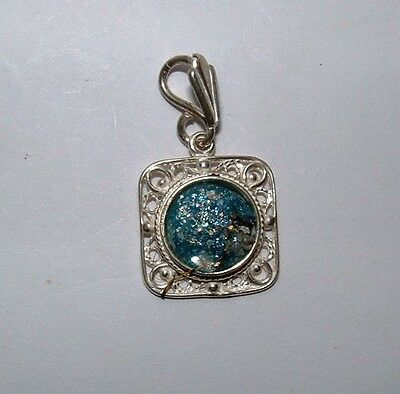 ancient roman glass fragment with very lovely patina pendant set in 925 silver