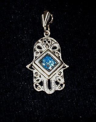 ancient roman glass fragment with very lovely patina hamsa set in silver