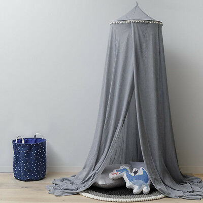 NEW Adairs Kids Vintage  275cm Grey/ Pom Pom
