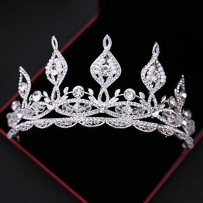 New Rhinestone Tiara Crown Wedding Hair Accessories Clear Crystal Pageant Party